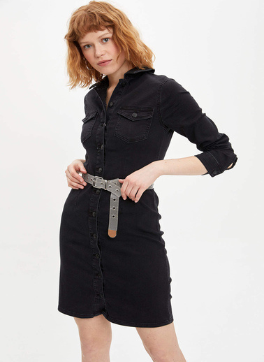 DeFacto Gömlek Elbise Siyah